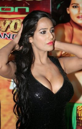 poonam pandey hot black dress cleavage photos southcolors 19