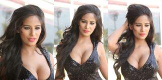 Poonam Pandey Hot Black Dress Cleavage Photos