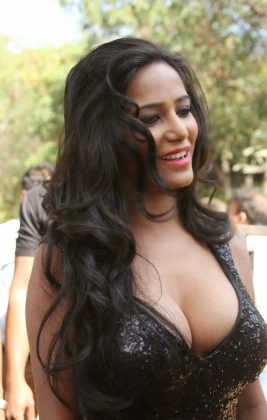 poonam pandey hot black dress cleavage photos southcolors 3