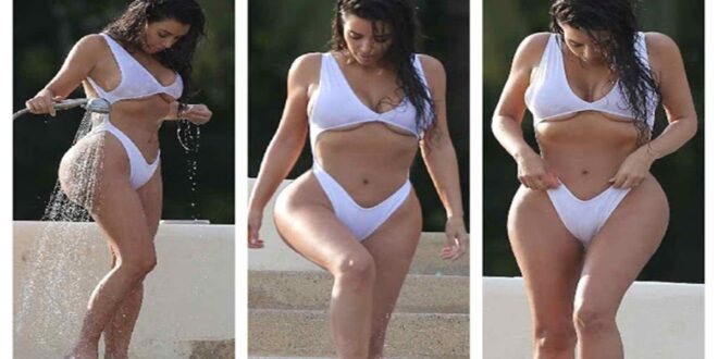 Kim Kardashian Hot White Swimsuit Photos