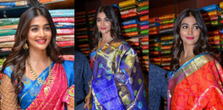 Pooja Hegde Traditional Saree Photos at Anutex Shopping Mall Launch