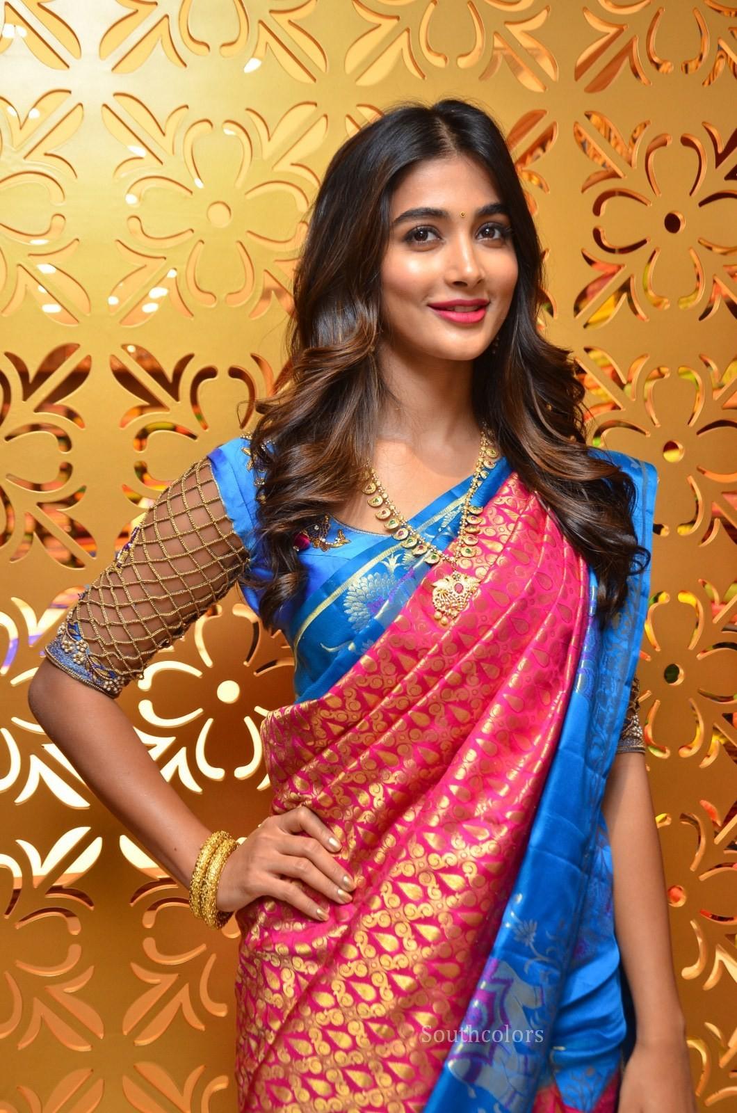 pooja hegde traditional saree photos southcolors 2