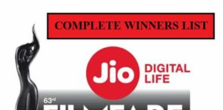 63rd Jio Filmfare Awards 2018 Complete Winners List