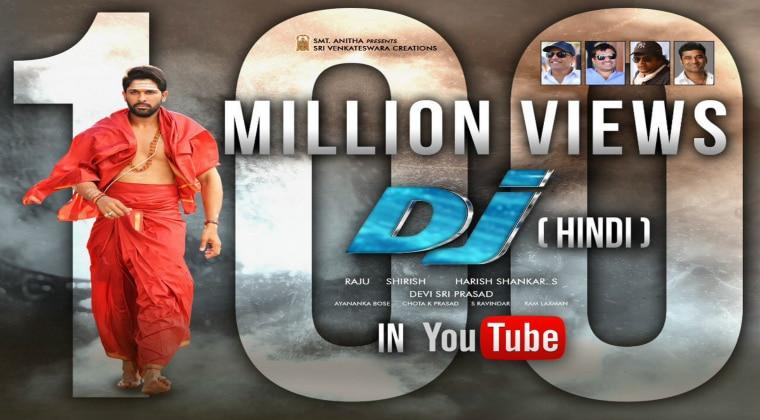 Allu Arjun's DJ Hindi Dubbed Version Hits 100 Million Digital Views