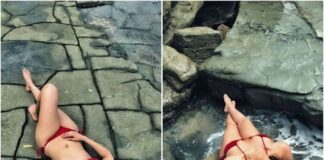 Shama Sikander Hot In Red Bikini Photos
