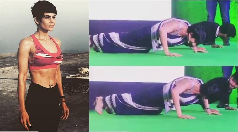Video of Actress Mandira Bedi Doing Push-Ups in Saree Goes Viral
