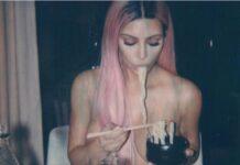 Kim Kardashian Goes Topless While Eating Ramen Noodles