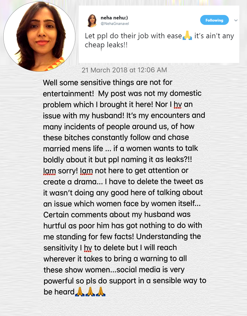 Producer Gnanavel Raja Wife Neha Calls Some Heroines Are Worse Than Sex Workers