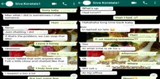 Actress Sri Reddy Revealed Koratala Siva WhatsApp Chats