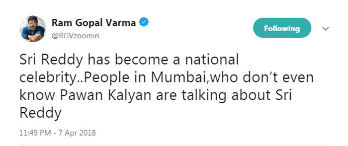 Sri Reddy Is More Popular Than Pawan Kalyan Says RGV