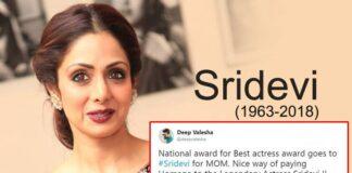 Actress Sridevi wins Best Actress National Award Posthumously