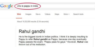 Google Search for PAPPU leads to Rahul Gandhi