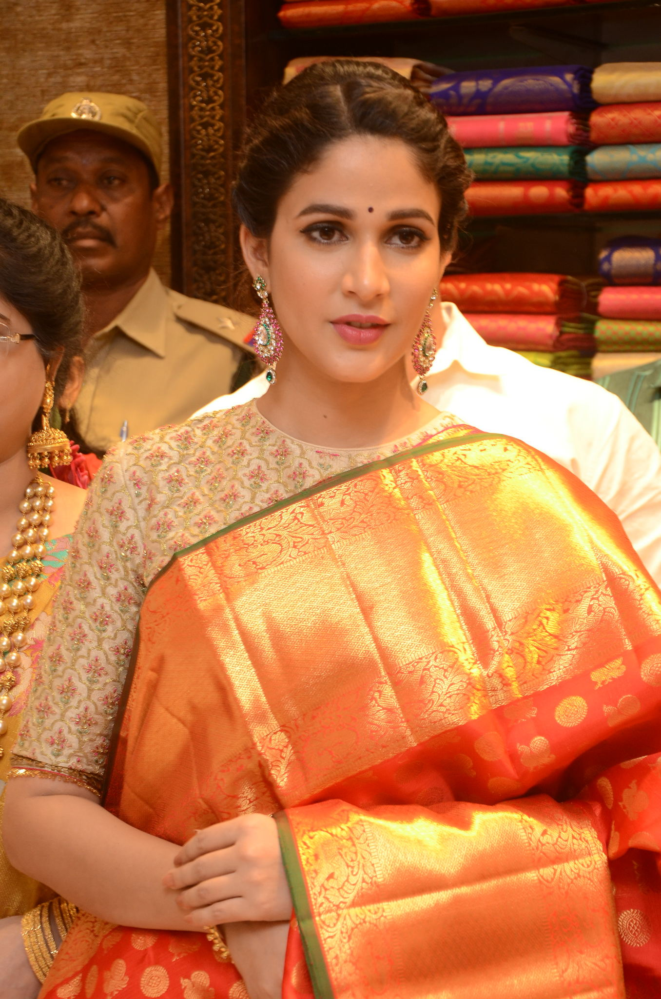 lavanya tripathi saree stills at kancheepuram kamakshi silks launch 12