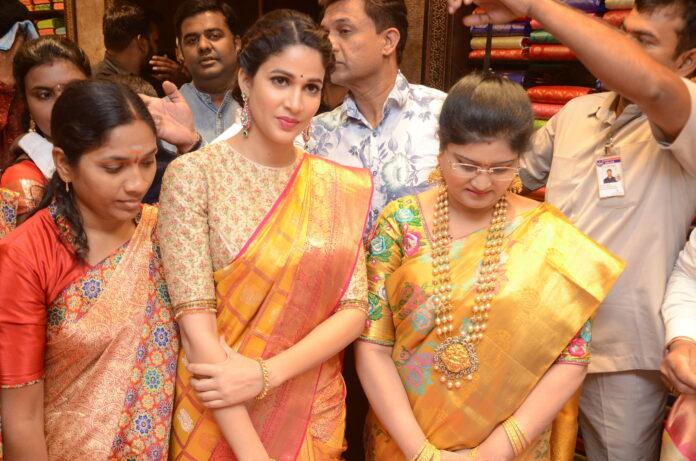 Lavanya Tripathi Saree Stills at Kancheepuram Kamakshi Silks Launch