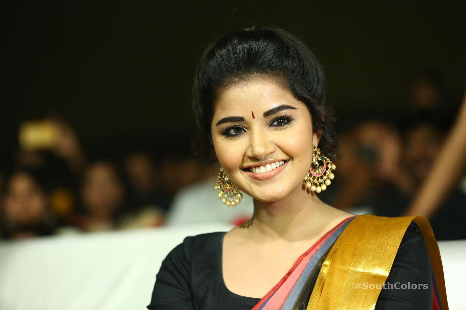 Anupama Parameswaran Saree Photos at Tej I Love U Audio Launch 13