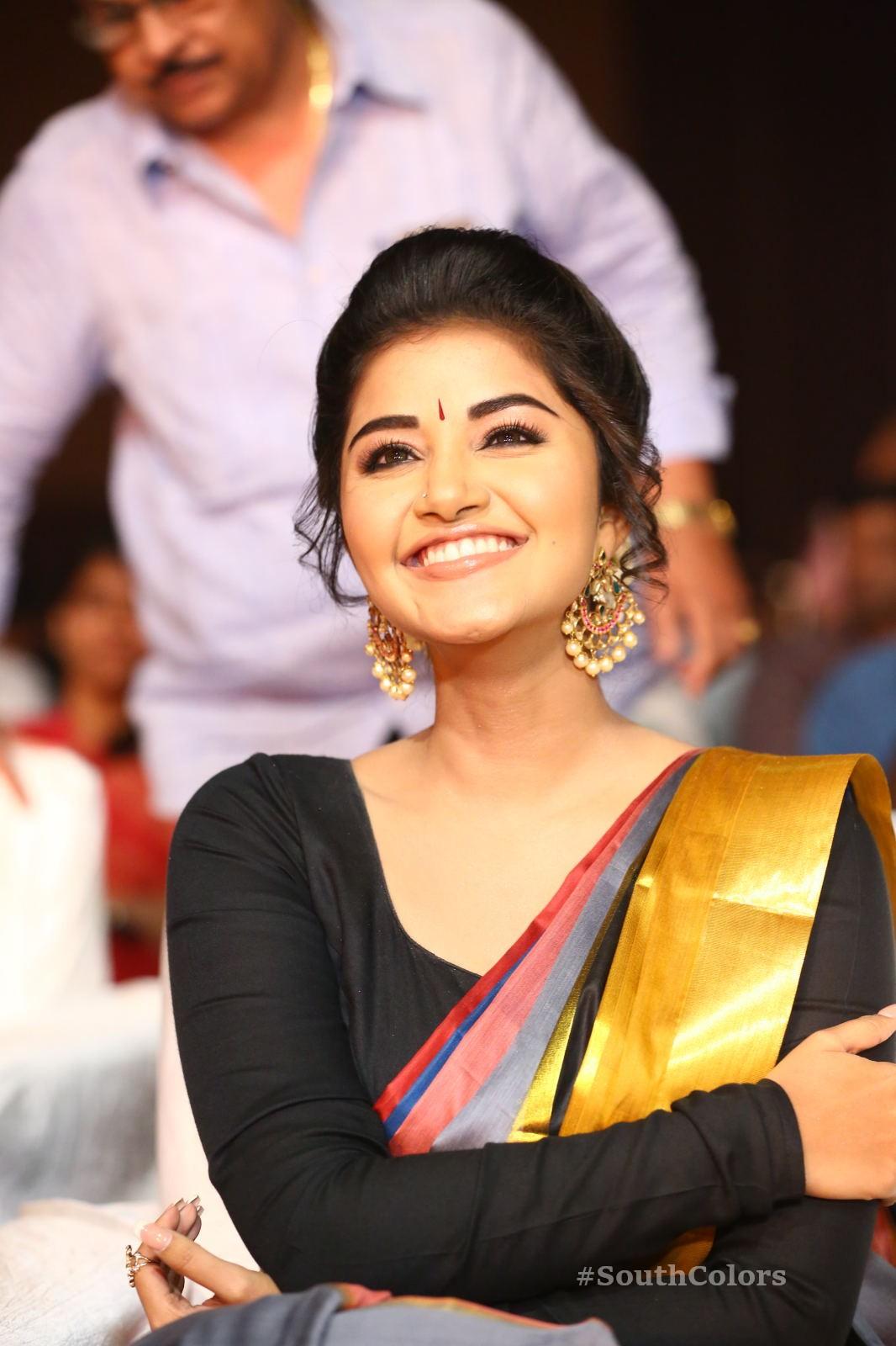 Anupama Parameswaran Saree Photos at Tej I Love U Audio Launch 14