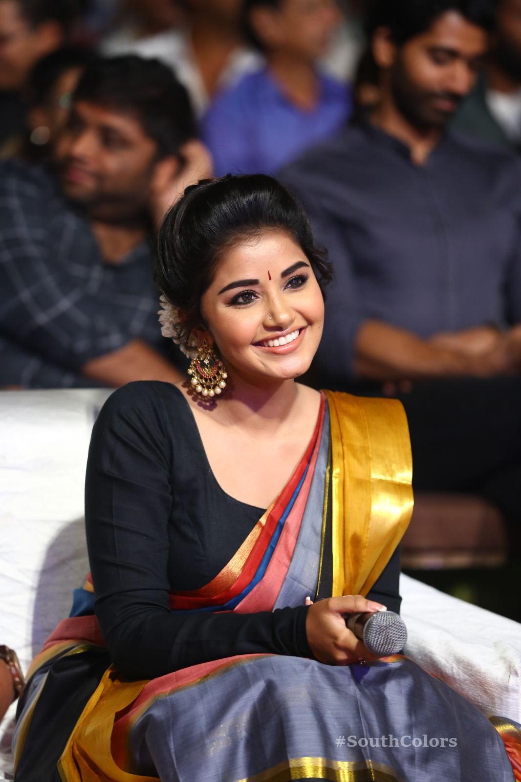 Anupama Parameswaran Saree Photos at Tej I Love U Audio Launch 17