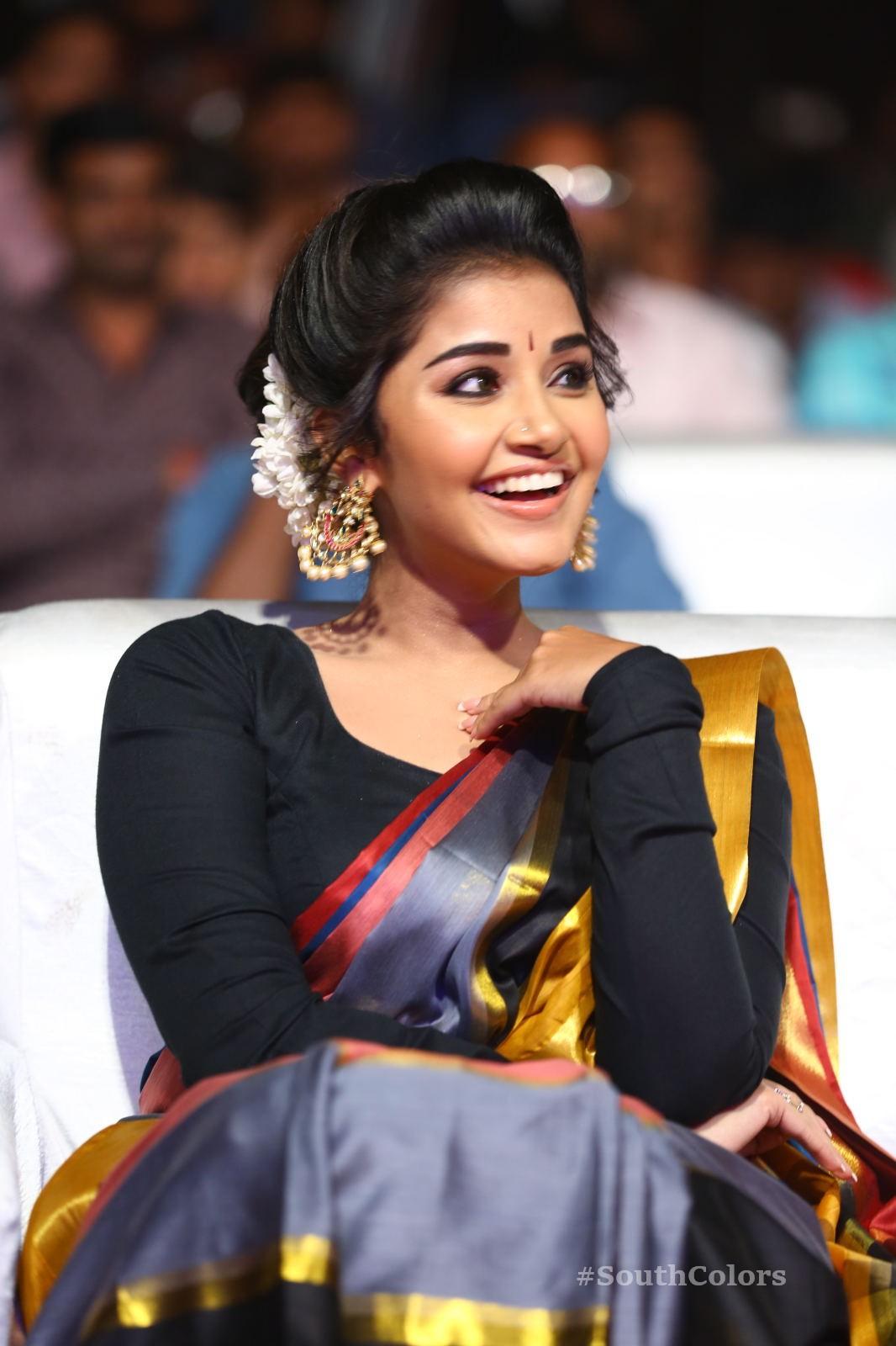 Anupama Parameswaran Saree Photos at Tej I Love U Audio Launch 4