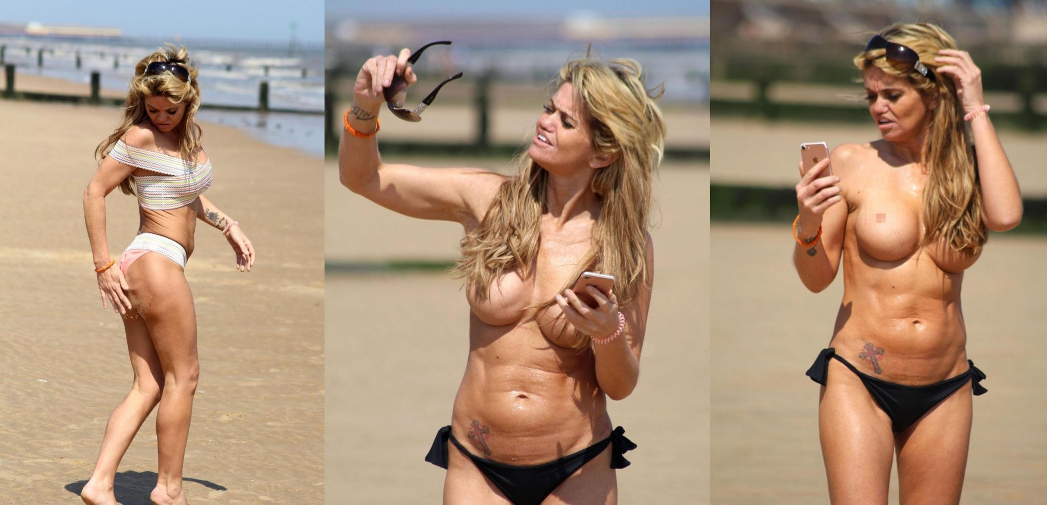Actress Danniella Westbrook Goes Topless on Beach