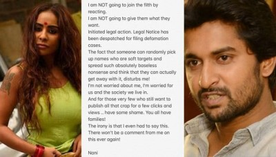 Nani Sents Legal Notice To Sri Reddy