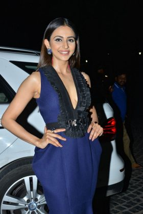 Rakul Preet Singh Blue Dress Photos at 65th Jio Filmfare Awards South 2018
