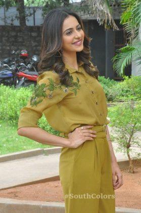 rakul preet singh yellow dress photos at wife of ram trailer launch southcolors 13