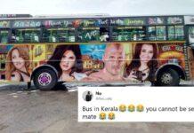 Adult Film Stars Painted Posters on Kerala Buses