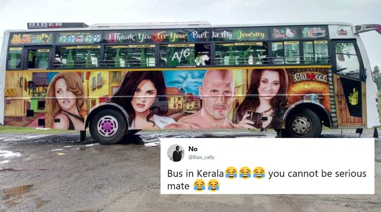 Adult Film Stars Painted Posters on Kerala Buses