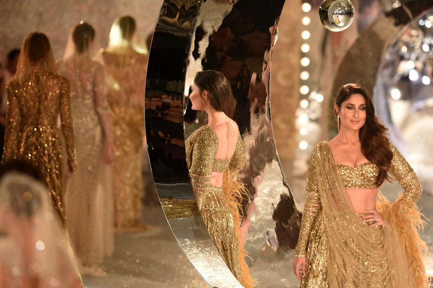 areena kapoor walks the ramp in 30 kg gold lehenga southcolors 6