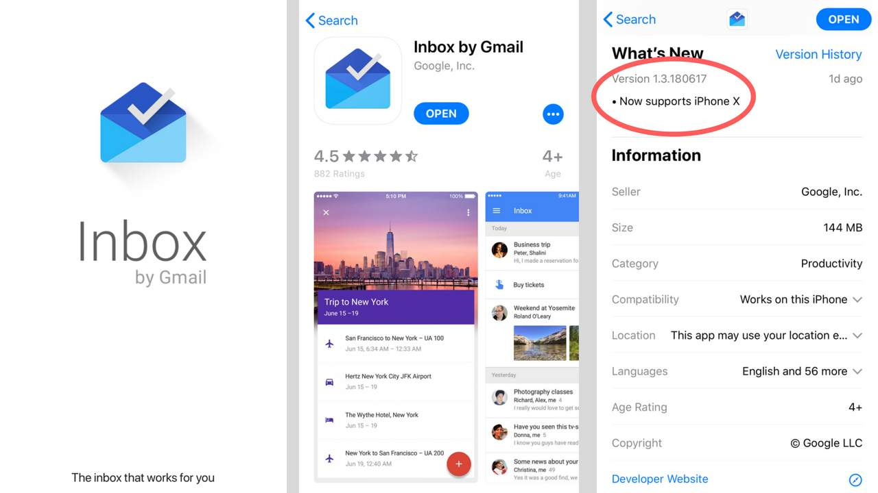 Inbox by Gmail App now Updated for iPhone X