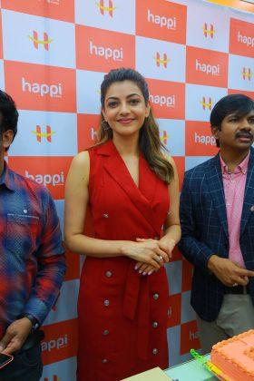 kajal aggarwal red dress photos at happi mobiles launch at hanumakonda 10