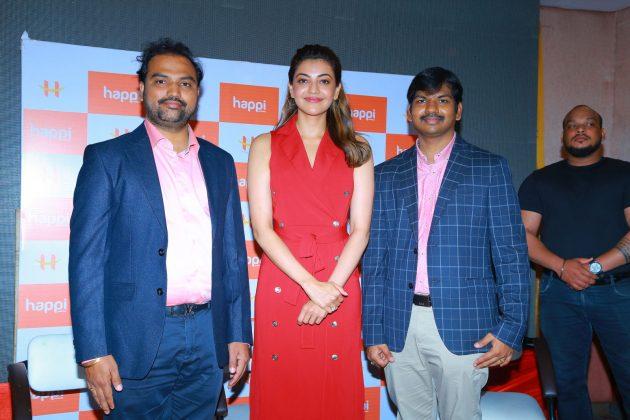 kajal aggarwal red dress photos at happi mobiles launch at hanumakonda 14