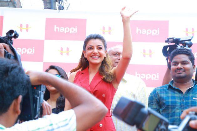 kajal aggarwal red dress photos at happi mobiles launch at hanumakonda 2
