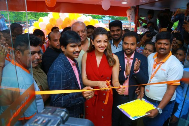 kajal aggarwal red dress photos at happi mobiles launch at hanumakonda 3