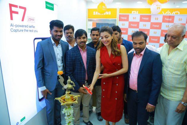 kajal aggarwal red dress photos at happi mobiles launch at hanumakonda 5