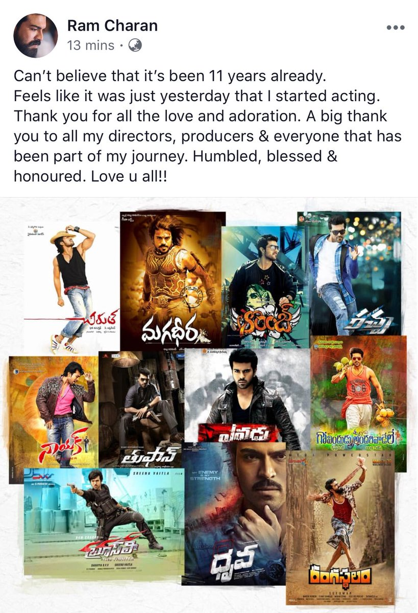 Ram Charan Complete 11 Years in Telugu Film Industry - SouthColors