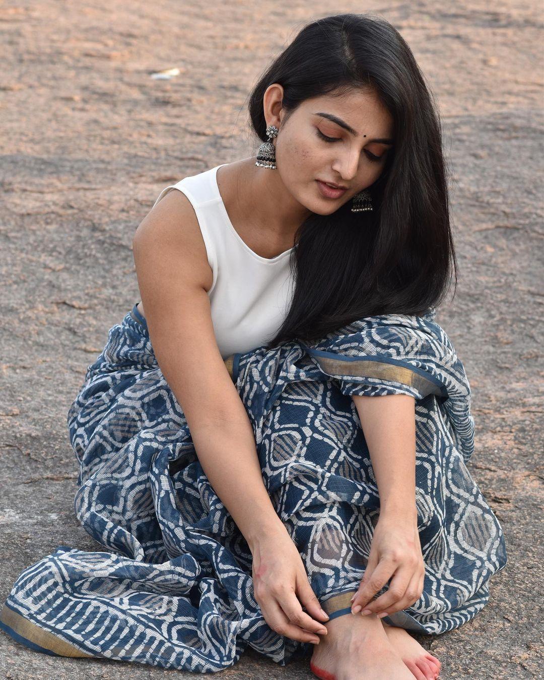 Actress Ananya Nagalla Hot Photos in White Saree 11