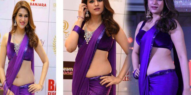 Shraddha Das Purple Saree Stills