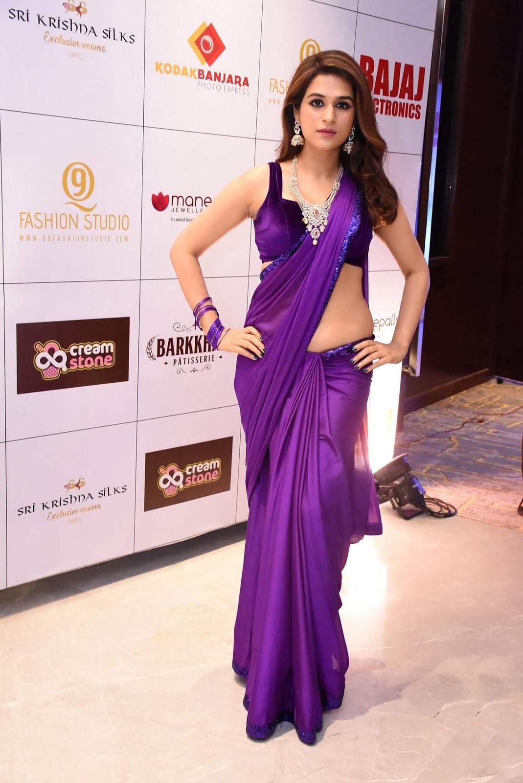 Shraddha Das Purple Saree Stills From Digital Influencer Awards In Hyderabad Theprimetalks 7